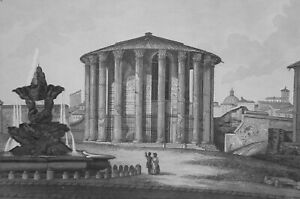 1830s-VIEW-OF-ROME-Temple-of-Vesta-Italy-Antique-Print-Copperplate