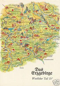 AK MAP Landkarte Umgebungskarte **ERZGEBIRGE** Westl. Teil IV, 1982 - Oberfranken, Deutschland - AK MAP Landkarte Umgebungskarte **ERZGEBIRGE** Westl. Teil IV, 1982 - Oberfranken, Deutschland