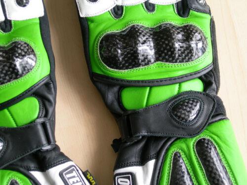 Red Blue Gray or Black Motorcycle Gloves Gauntlet Leather Carbon Fiber