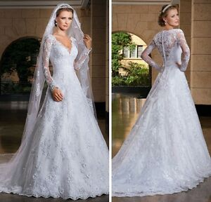 Lace Applique Long sleeves Illusion back wedding dress, UK tailor, 4 - 28