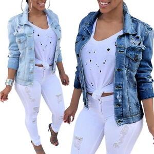 Image is loading Women-Fashion-Denim-Jacket-Lady-Jeans-Casual-Full- 4c31d47441