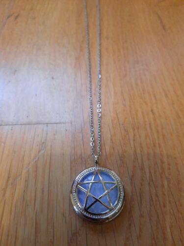 Opalite moonstone pentagram wicca magic pendant necklace amulet symbol gift