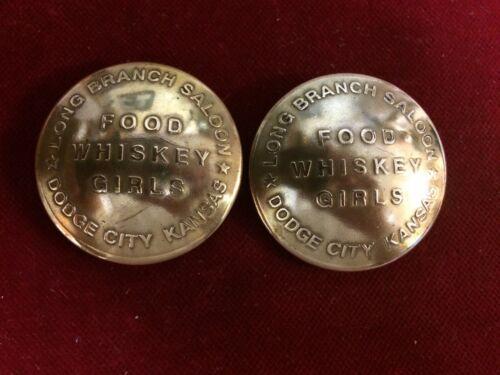 "/""Gunsmoke/"" Long Branch Saloon Conchos 2 Brass BROTHEL token"