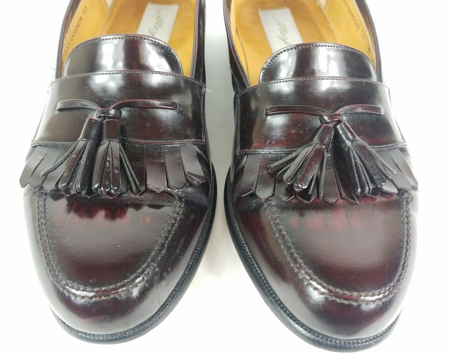 Mezlan Loafers Men's Size 10 Wide Santander Burgundy Leather Kiltie Tassel EUC