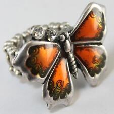 Orange Clear Crystal Butterfly Silver Stretch Ring Alloy Enamel