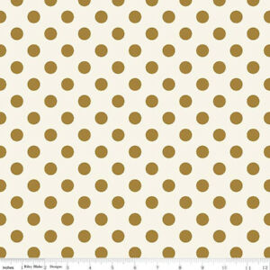 Riley Blake Cotton Fabric In Bloom Dot Gold Sparkle