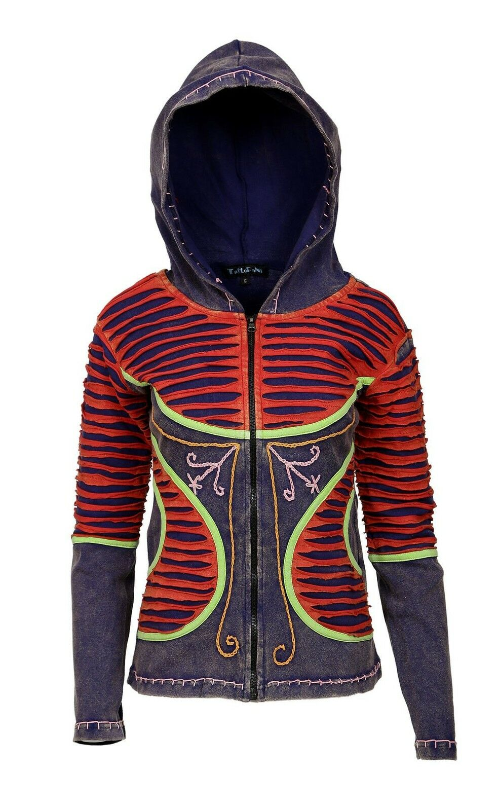 WOMEN MULTIcolorD STONE STONE STONE WASH COTTON CARDIGAN WITH ATTACHED HOOD 0529f9