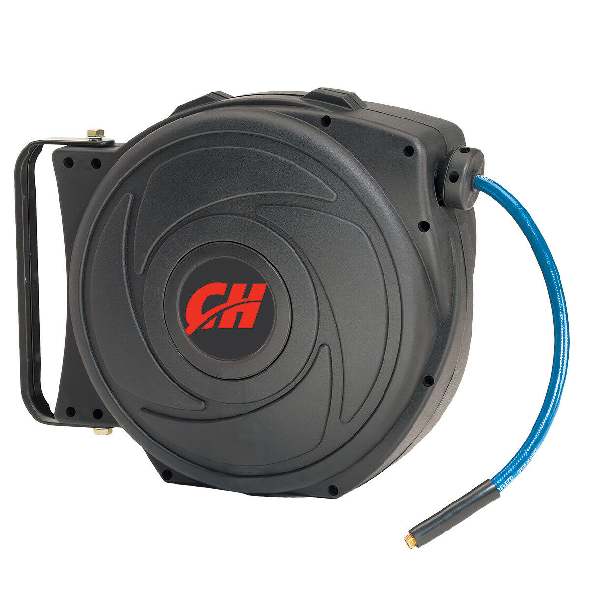 Air Hose Reel with Retractable 50 Foot Hose, 3 8 Inch ID, Mountable, Swivel