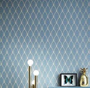 rouleau de papier peint vinyle intiss art d co bleu canard et dor padblm5 ebay. Black Bedroom Furniture Sets. Home Design Ideas