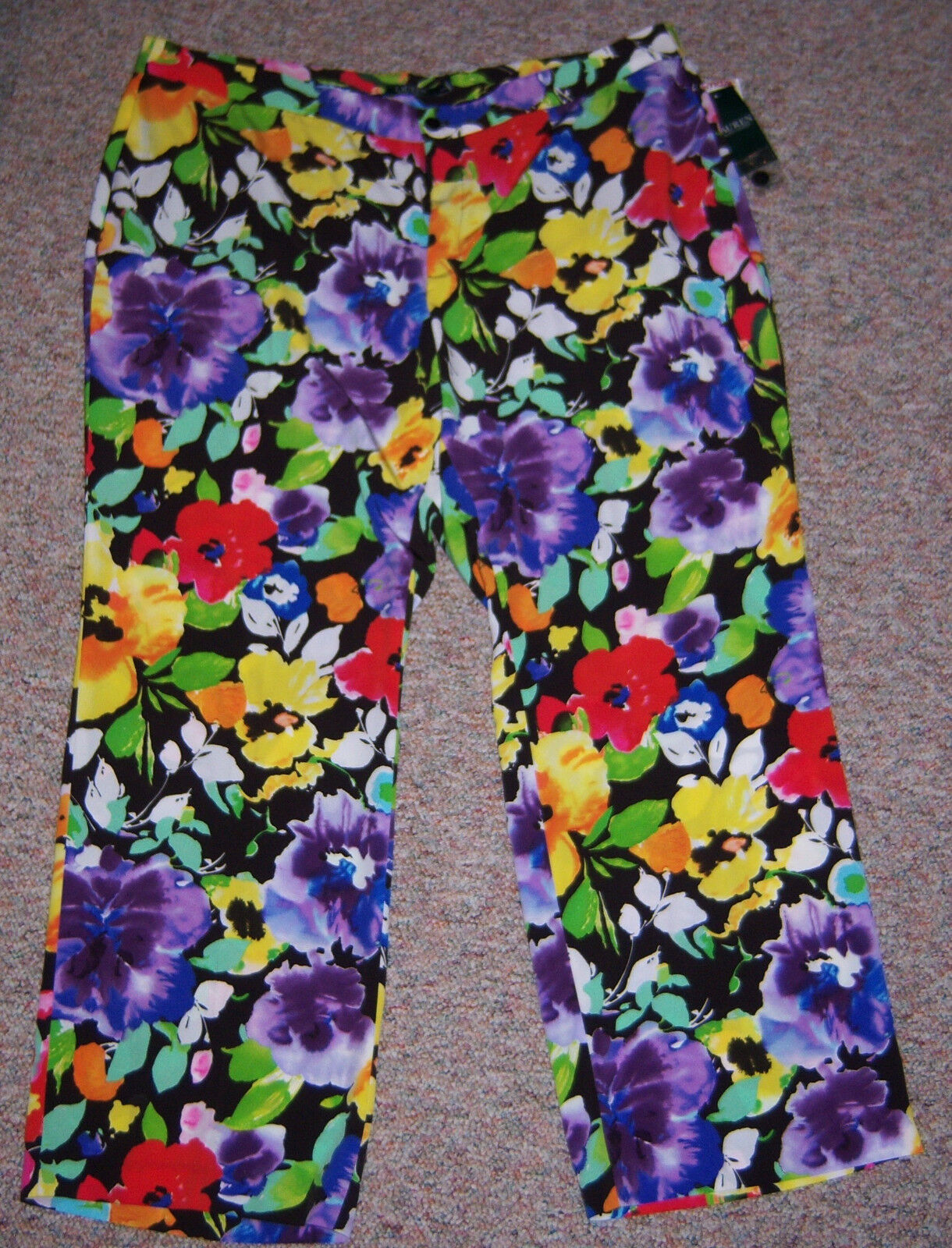 RALPH LAUREN colorful Floral Print Wide Leg Fully Lined Dress Pants Size 18W NWT