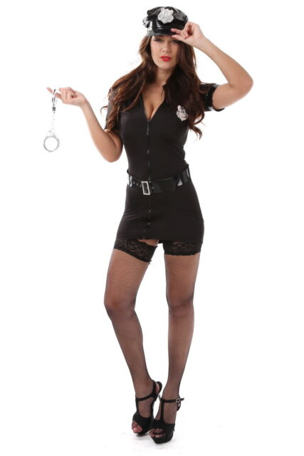 Sexy Black Police Woman Costume Cool Cop Uniform Cosplay Dress Partywear S-2XL