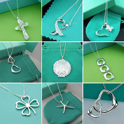 Wholesale Lady /Womens's solid 925silver Pendant necklace Fashion jewelry Gift