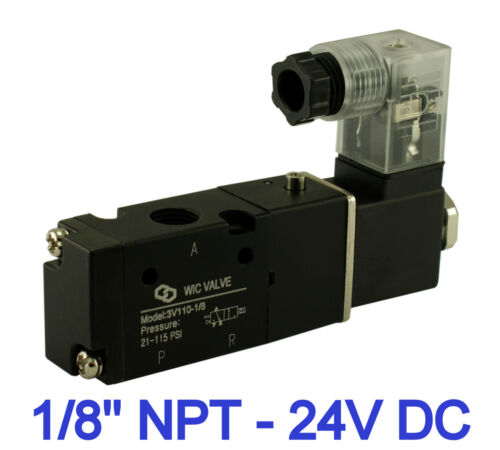 1//8 Inch Pneumatic 3 Way Electric Directional Control Air Solenoid Valve 24V DC