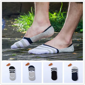 5x-Men-039-s-Invisible-No-Show-Low-Cut-Ankle-Cotton-Sock-Striped-Pattern-Anti-Slip