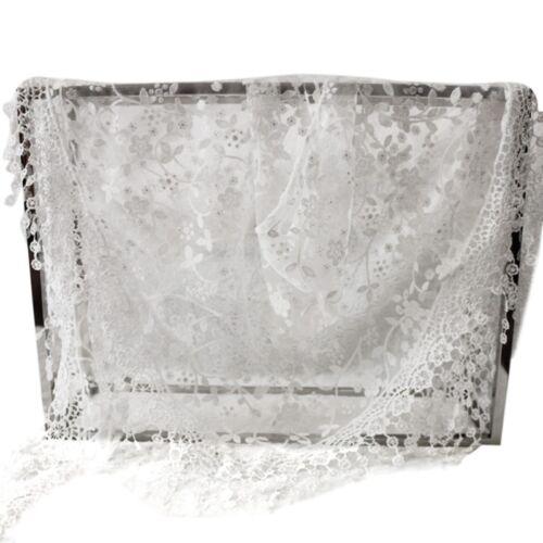 1xWomen Floral Lace Sheer Triangle Veil Church Mantilla Scarf Shawl Wrap Tassel