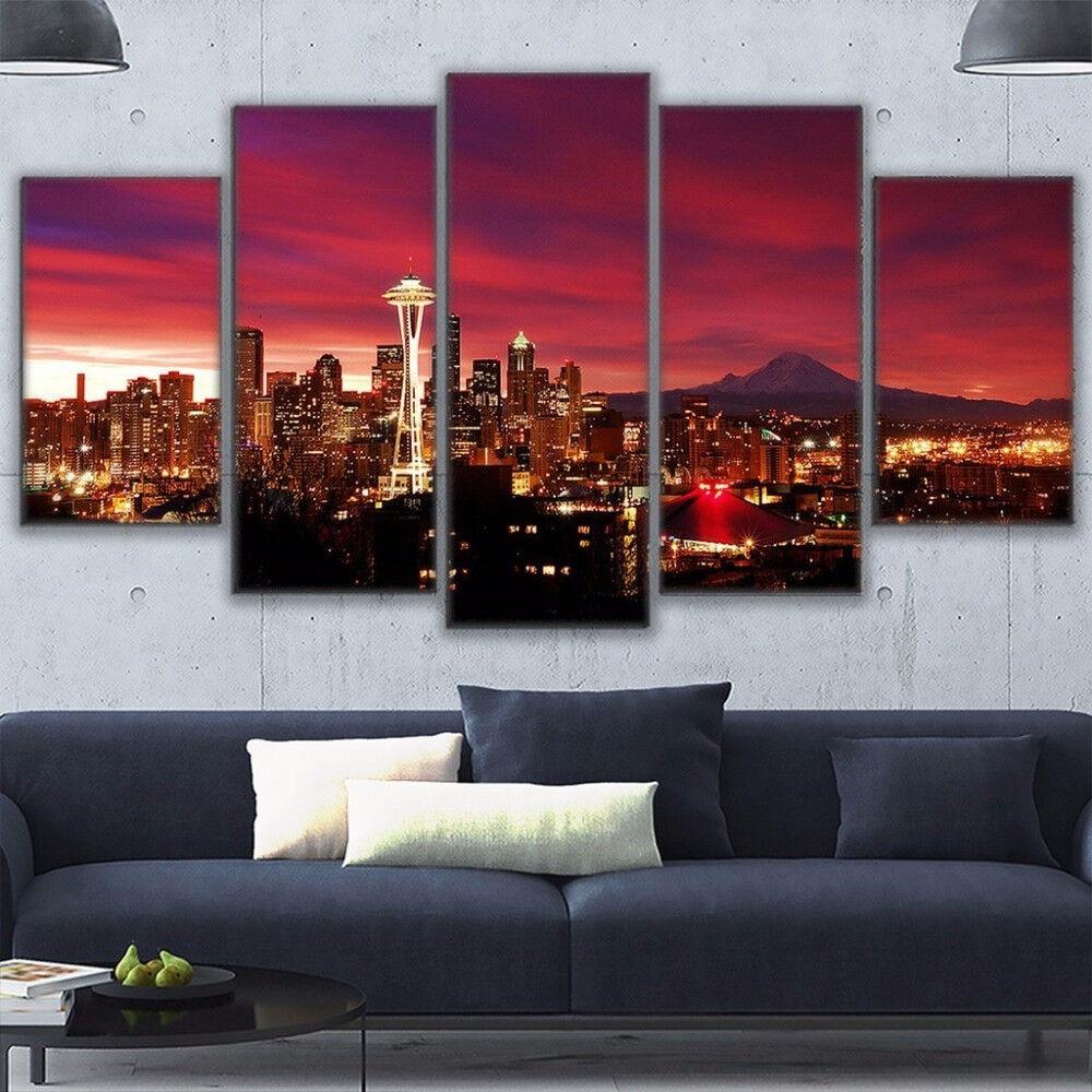 Night Sky Seattle Cityscape 5 Panel Canvas Print Wall Art