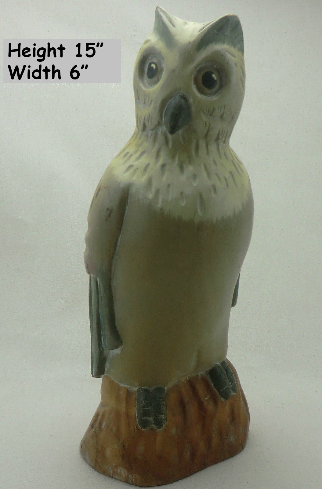 ASTONISHING WOODEN OWL, HAND CRAFTED IN COSTA RICA 15 x6  KILN DRIED ,EXDISPLAY
