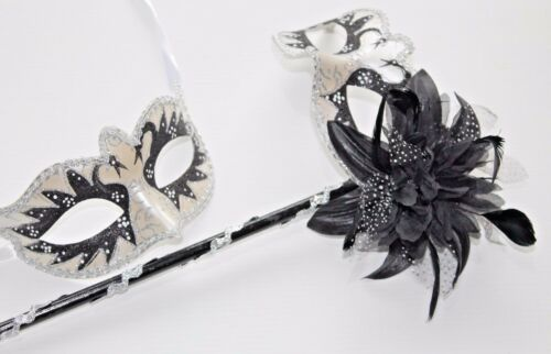 HIS N HERS TWO BLACK SILVER VENETIAN MASQUERADE MASKS MASK ON STICK HAND HELD