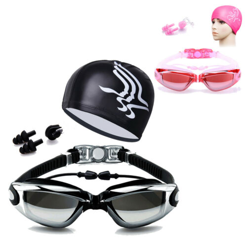 Adult Swimming Glasses Goggles Anti-fog UV Protection Earplug Swim Cap Nose Clip