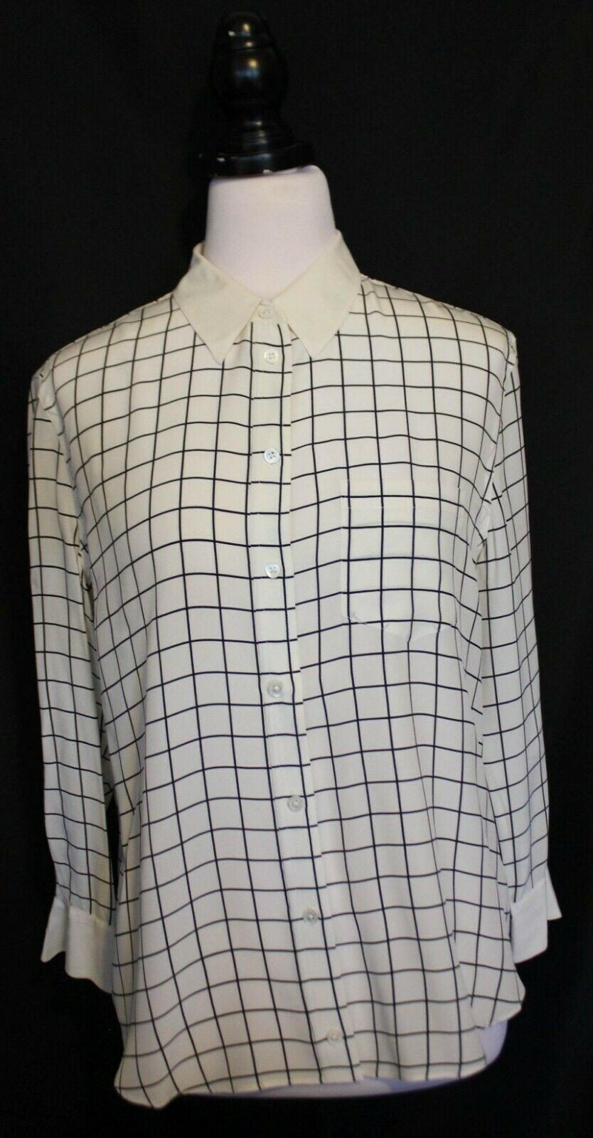 EQUIPMENT FEMME (FRANCE)  Ivory Weiß schwarz Check Silk Long Sleeve Shirt Top M