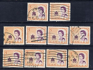 Canada-471-2-1967-5-cent-Elizabeth-II-CENTENNIAL-ROYAL-VISIT-10-Used