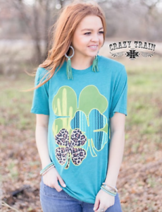 Teal shirt Clover Animal Train Clever T Print Crazy Leopard nqY8ITRx81