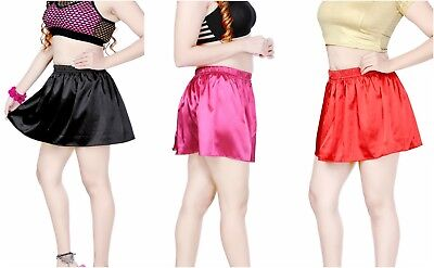 Sparsam Women's Soft Satin Puffball Look Mini Skirt Girls Rara Skirt Ladies Mini Skirt