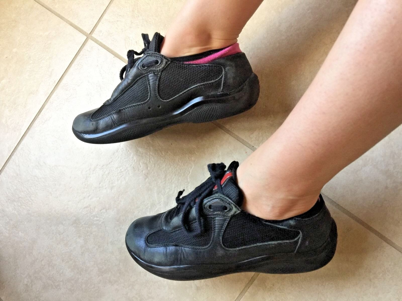 PRADA AMERICAS CUP Women's SUEDE LEATHER SNEAKERS Marked size 37.5 or 7.5