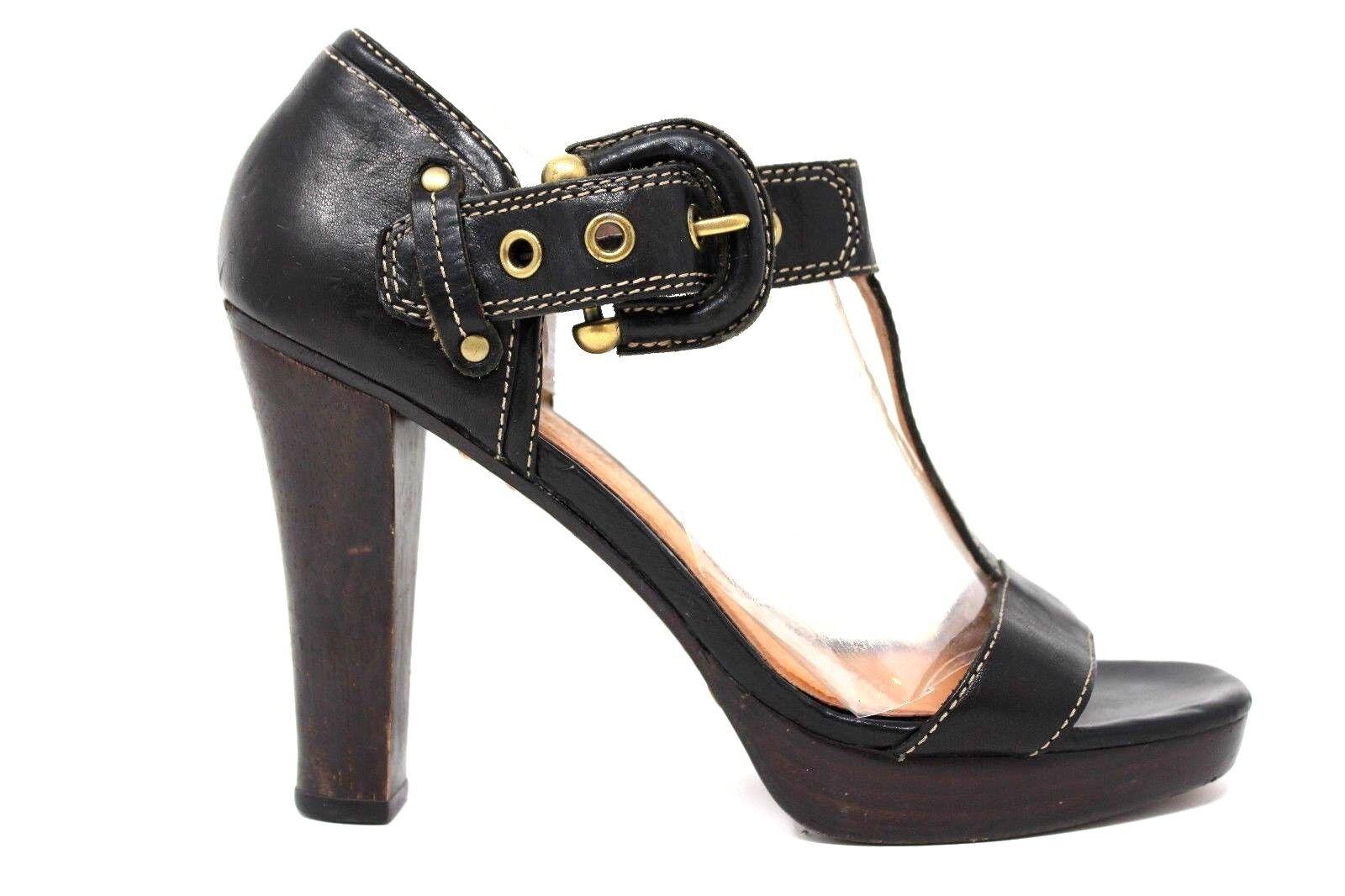 Frye Gabby Bucklet Black Leather T-Strap Buckle 4.5  Heels Women's Size 8.5M