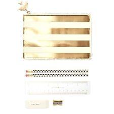 Kate Spade New York  Pencil Pouch Bag Gold Stripe Sharpener Eraser Ruler Pencils