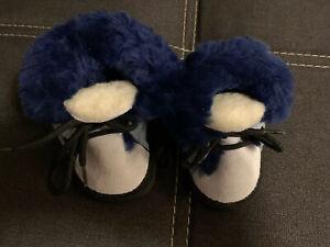 Babyschuhe-Lammfell-Blau-Nadas-Neu-Zum-Binden