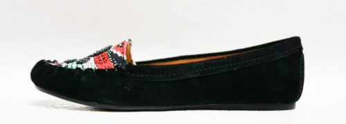 Betsey Johnson womens MAYHEMM suede beaded moc toe flats shoes 6 6.5 8 8.5 NEW