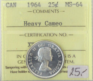 1964-Canada-25-Cents-Silver-Quarter-MS-64-ICCS-Certified-Heavy-Cameo-XTG-861