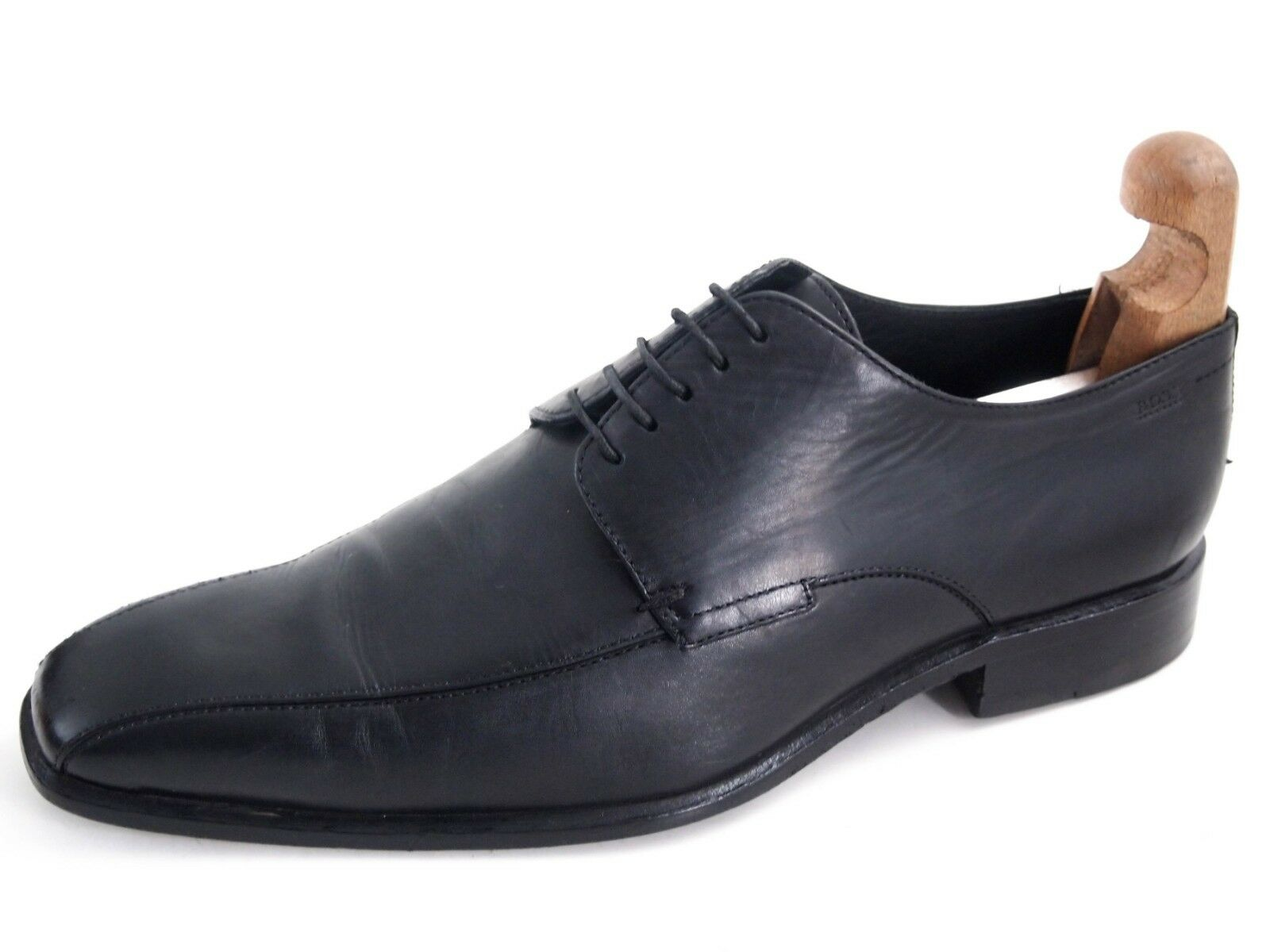 Hugo Boss Derby Oxfords, schwarzes Leder, Herrenschuhgröße UK 8 EU  340