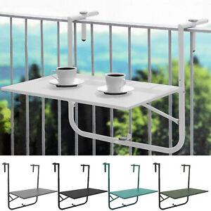 Balkontisch 60x40cm höhenverstellbar Hängetisch Gartentisch Klapptisch Weiß