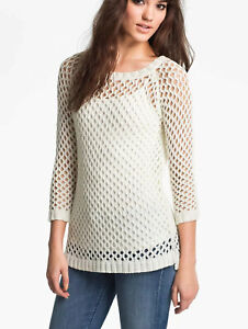 Soft-Joie-Womens-Open-Mesh-Knit-Tunic-Sweater-Pullover-Ivory-Sz-Small