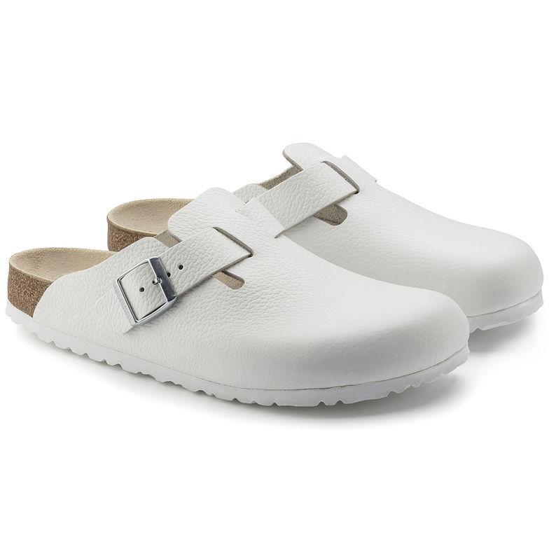 Sandali e scarpe per il mare da uomo Birkenstock BOSTON PELLE BIANCA 060133 Zoccoli Pantofole... NUOVO NUOVO NUOVO