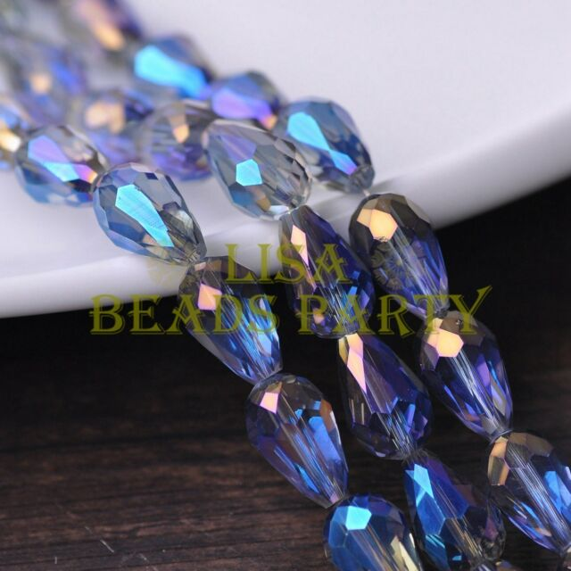 New 20pcs 16X10mm Faceted Teardrop Crystal Glass Loose Bead Blue Colorized