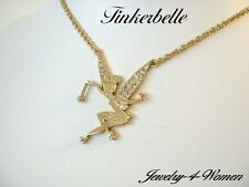 "DISNEY Couture TINKER Bell 15"" NECKLACE GOLD Plated CRYSTAL Wings WISHES 4 YOU"