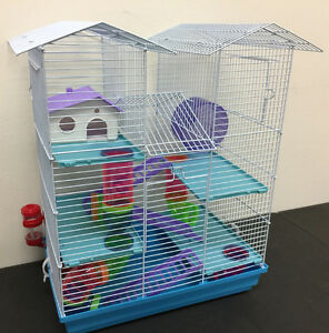NEW-5-Floor-Large-Twin-Tower-Hamster-Habitat-Rodent-Gerbil-Mouse-Mice-Rats-Cage