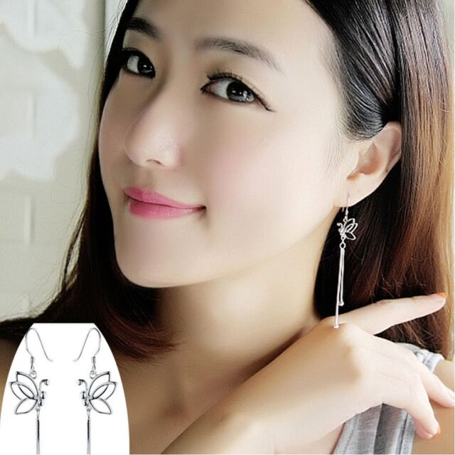 Fashion Jewelry Refinement New Chic Earrings Silver Color Butterfly Ear Wire
