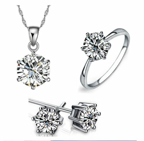 925 Sterling Silver 3.0 Cts CZ Engagement Promise Party Jewelry Set RS23