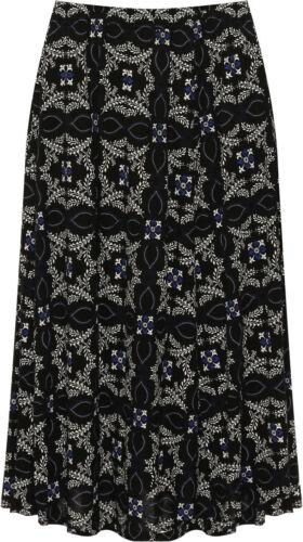 Plus Womens Elasticated Midi Skirt Ladies Paisley Floral Print Flared New 16-30