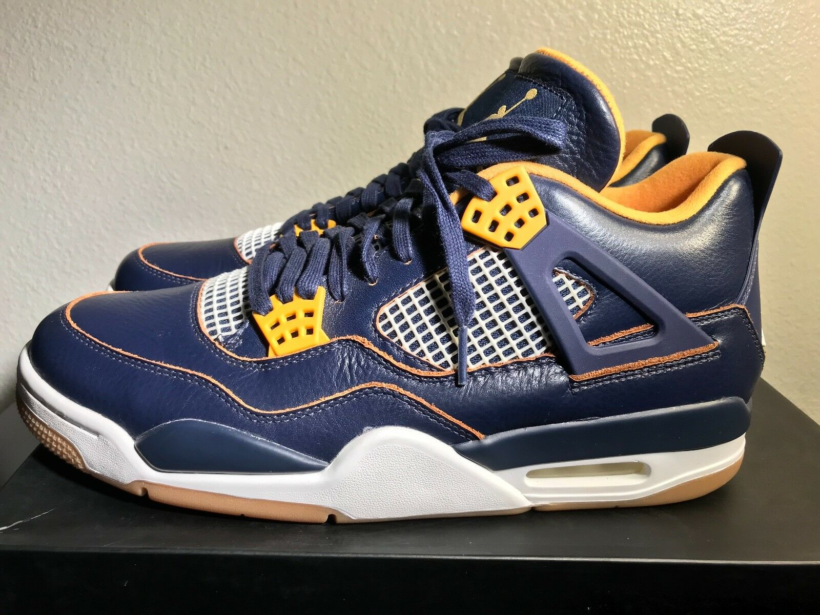 Air Jordan 4 Retro Dunk From Above 308497-425 Uomo Size 11 Navy Gold Gum DS