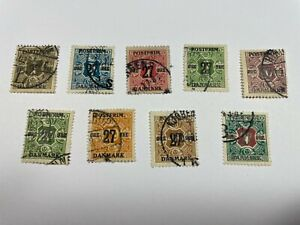 Denmark Scott 145 154 Used Surcharged With Free US Shipping