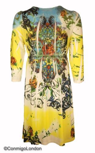 Con Mi London fleuri à jersey et Robe colorés en Jaune sequins imprimé V2 Go à azwB7vq