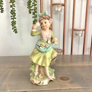Vintage-Bisque-Porcelain-Maiden-Figurine-Flowers-Collectible-Decor
