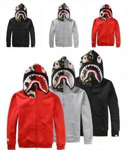 Hot BAPE A Bathing Ape Men/'s Jacket Shark Head Full Zip Hoodie Sweater Coat