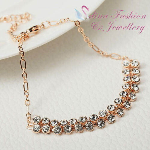 18K Rose Gold Plated Double Row Simulated Diamond Sparkling Bracelet