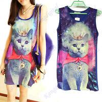 Unisex Galaxy Space Bow Cat Print Graphic Sleeveless Punk Long Tops T-shirt New